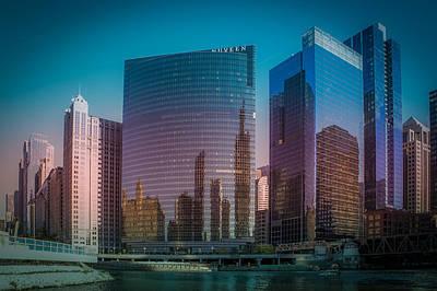 Summer Sunset In Chicago Downtown  Art Print by Art Spectrum