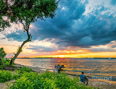 Photograph - Summer Sunset Over The Delaware River In New Jersey by Nick Zelinsky