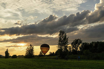 Photograph - Summer Sunset With Balloons And Bicycles by Georgia Mizuleva