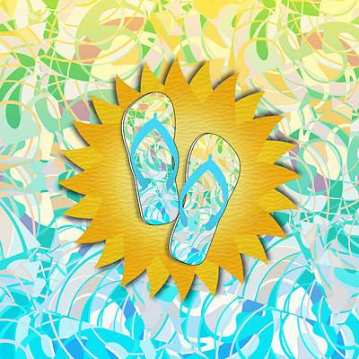 Mixed Media -  Summer Sunshine And Blue Flip-flops by Gravityx9 Designs