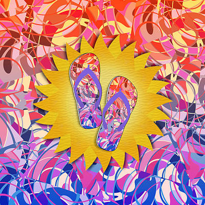 Mixed Media - Summer Sunshine And Purple Flip-flops by Gravityx9 Designs