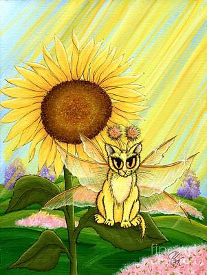 Art Print featuring the painting Summer Sunshine Fairy Cat by Carrie Hawks