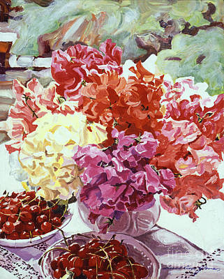 Floral Still Life Painting - Summer Sweet Cherries by David Lloyd Glover