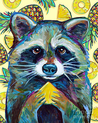 Painting - Summer Sweets Pineapple Raccoon by Robert Phelps