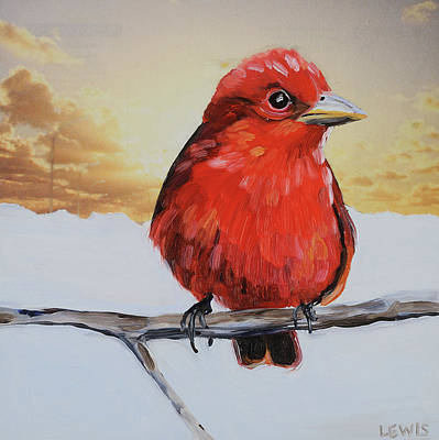Mixed Media - Summer Tanager by Anne Lewis