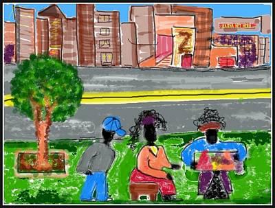 Drawing - Summer Time New York City Street Vendors by Kaitha Het Heru