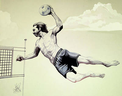 Drawing - Summer Time Volley Ball by Cheryl Poland