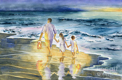 Little Girl On Beach Painting - Summer Vacation Memory by Melly Terpening