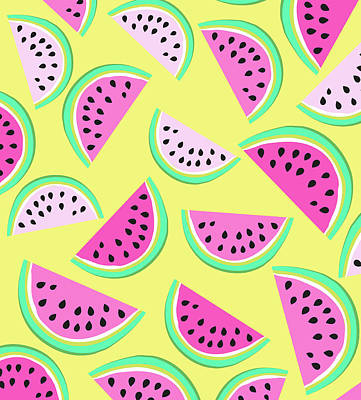 Watermelon Drawing - Summer Watermelon by Arte Flora Design Studio
