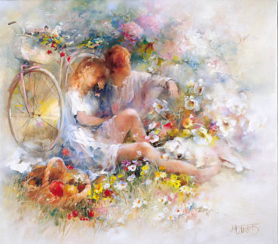 Two Bikes Painting - Summer by Willem Haenraets