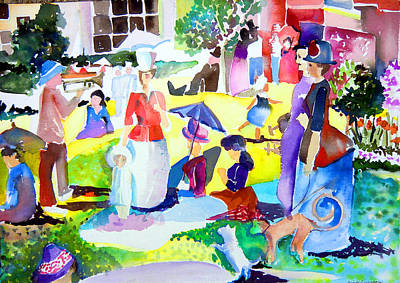 Summer With In The Park With George Art Print by Mindy Newman