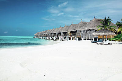 Photograph - Summer Wooden Water Villas On Maldives by Michal Bednarek