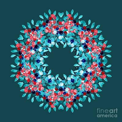 Blueberry Digital Art - Summer Wreath by Mary Machare