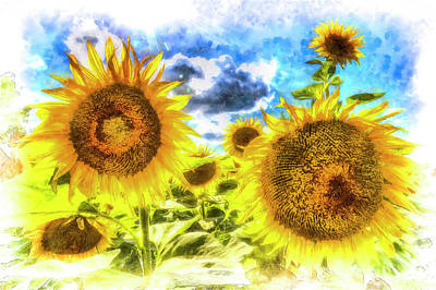 Impressionism Photos - Summers Day Sunflowers Art by David Pyatt