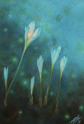Painting - Summer's Farewell Or Autumn Crocuses With Fireflies by Robin Street-Morris