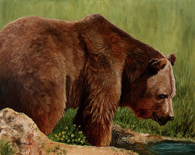 Painting - Summer's Grizzly Bear by Jan Priddy