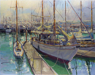 Painting - Summer's Here, Classic Boats Of The Auckland Viaduct Harbor by Kristen Olson Stone
