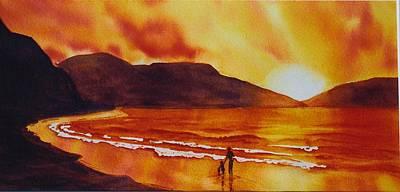 Summers-sunset Art Print by Nancy Newman