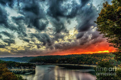 Photograph - Summersville Lake Fiery Sunrise by Thomas R Fletcher