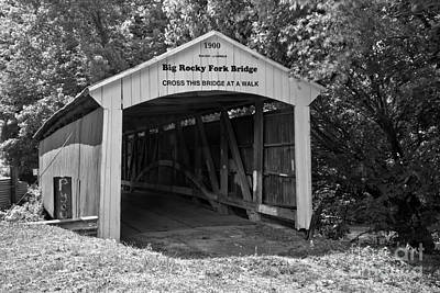 Photograph - Summertime At The Big Rocky Fork Covered Bridge Black And White by Adam Jewell
