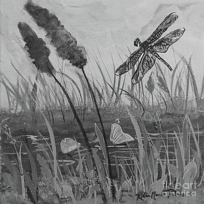 Art Print featuring the painting Summertime Dragonfly Black And White by Robin Maria Pedrero