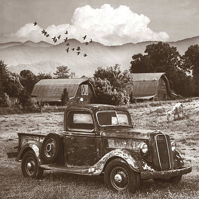 Photograph - Summertime Farm In Antique Sepia  by Debra and Dave Vanderlaan