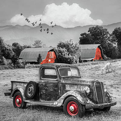 Photograph - Summertime Farm In Black And White With Red Touches by Debra and Dave Vanderlaan