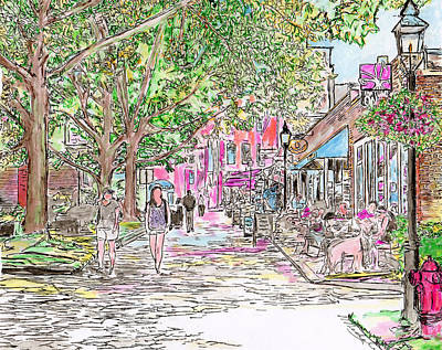 Drawing - Summertime In Newburyport, Massachusetts by Michele Loftus