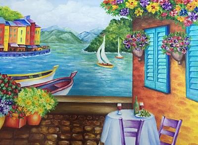 Portofino Italy Painting - Summertime In Portofino  by Elena Hrebonkina