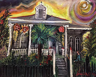 Art Print featuring the painting Summertime New Orleans by Amzie Adams
