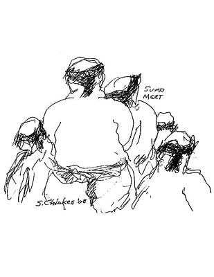 Sports Sketching Drawing - Sumo Meeting by Sam Chinkes