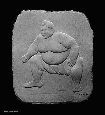 Art Print featuring the relief Sumo by Suhas Tavkar