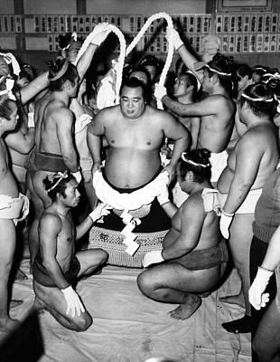 Sumo Wrestlers In Japan. Ca 1950s Print by Everett