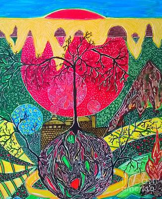 Drawing -  Sun And A Fort In The Woods by Yury Bashkin