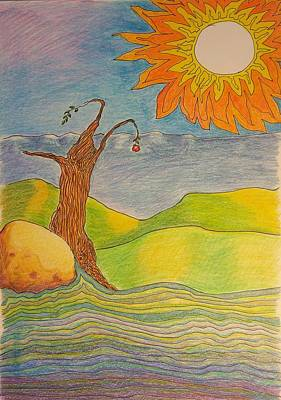 Autumn Landscape Drawing - Sun And Apple Tree by Clara Brayton