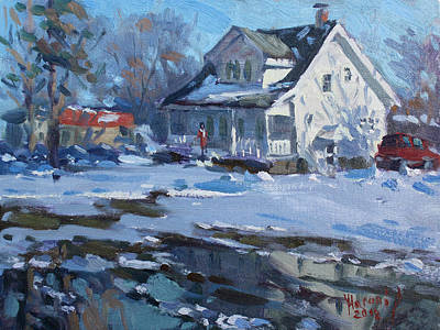 Fall Snow Wall Art - Painting - Sun And Cold by Ylli Haruni
