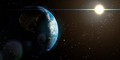 Planet System Drawing - Sun And Earth From Space by HQ Photo