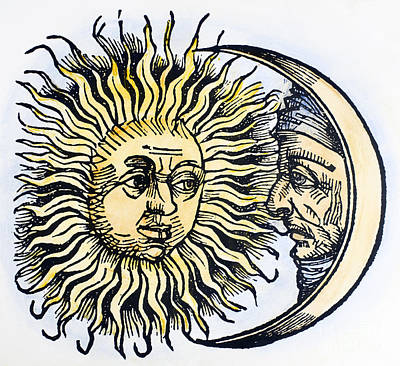 Man In The Moon Photograph - Sun And Moon, 1493 by Granger