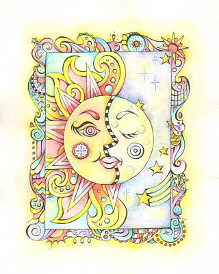 Whimsy Face Mixed Media - Sun And Moon by Adrienne Allen