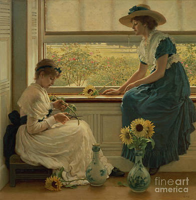 Window Bench Painting - Sun And Moon Flowers by George Dunlop Leslie
