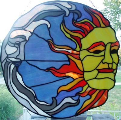 Glass Art - Sun And Moon by Liz Lowder