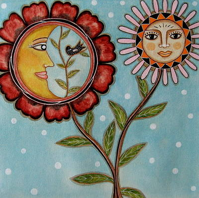 Rain Ririn Painting - Sun And Moon by Rain Ririn