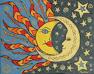 Painting - Sun And Moon by Susie WEBER