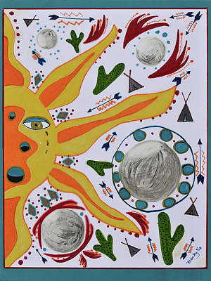 Mixed Media - Sun And Moons by Donna Blackhall