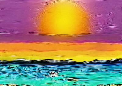 Sunrise Over Water Painting - Sun Arising by Karen Conine