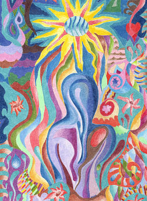 Abstract Movement Drawing - Sun Bath by Molly Williams