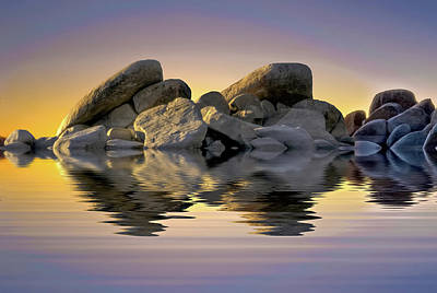 Photograph - Sun Bathed Rocks by Maria Coulson