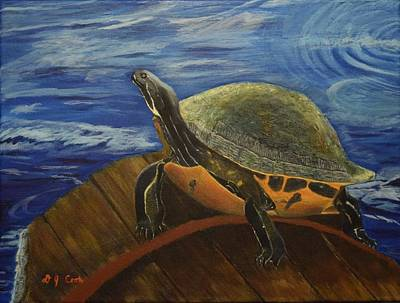 Barrel Painting - Sun Bathing by Donna Cook