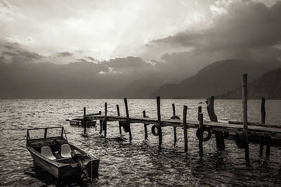 Photograph - Sun Beams On Lake Atitlan, Guatemala In Black And White by Daniela Constantinescu