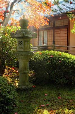 Wall Art - Photograph - Sun Beams Over Japanese Stone Lantern by David Gn